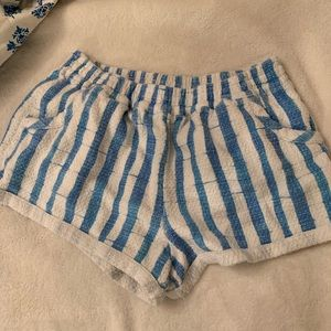Blue and white stripped shorts